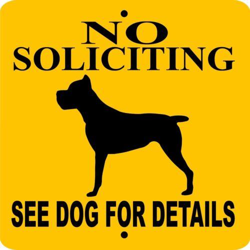 "CANE CORSO DOG SIGN,NO SOLICITING,9/"" x 9/"" ALUMINUM SIGN,GUARD,WARNING,nscc9x9cy"