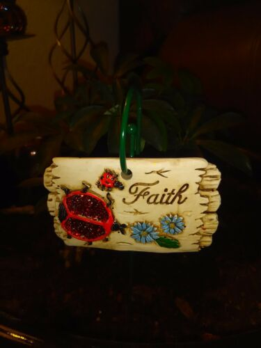 """/""""Faith/"""" Miniature Ceramic Garden Decoration and Hanging Stake"""