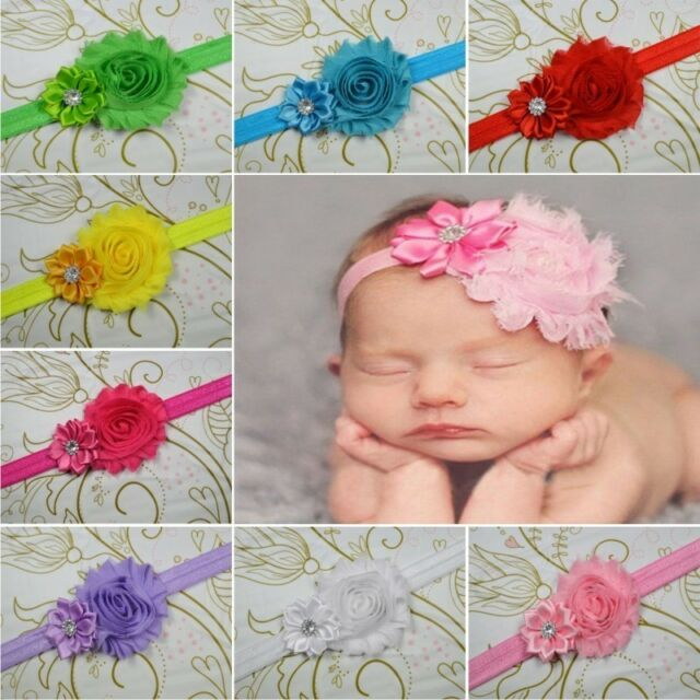 10 Baby girl Infant Toddler flower Hair bow band DIY craft headband Accessories
