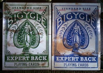 Lot 2 Deck Set BLUE & GREEN Bicycle Distressed Expert Back with Calculator