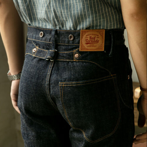 Men's Vintage Workwear Inspired Clothing   Red Tornado 14oz Selvage Denim Slim Straight Jeans For Men Workwear Pants Blue $79.99 AT vintagedancer.com