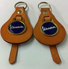 2 X Vespa,keyrings,On Vintage Tan Leather 60/70s