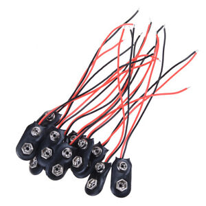 10Pcs-9V-Battery-Snap-Holder-Clip-Connector-Hard-Shell-10CM-Cable-Lead-NP