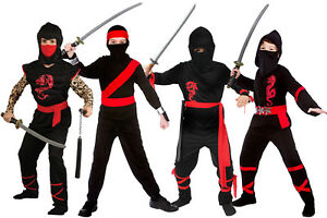 Boys Ninja Halloween Kids Muscle Chest Warrior Tattooed Fancy Dress Costume