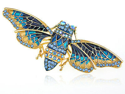 Indigo Yellow Painted Enamel Crystal Rhinestones Moth Vogue Jewelry Pin Brooch