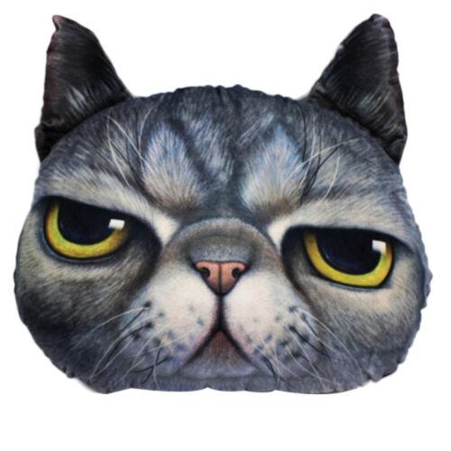 3D Soft Plush Funny Cat Dog Face Fleece Throw Pillow Case Cushion Cover Decor US