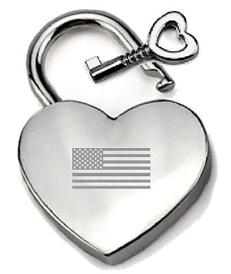 Geschickt Silbern Herz Vorhängeschloss Optionel Nachricht Kiste - Graviert Usa Flagge SorgfäLtig AusgewäHlte Materialien