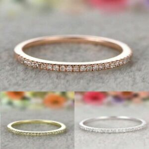 925-Silver-Rings-Size-6-10-Stackable-Eternity-Rose-Gold-Plated-Wedding-Promise