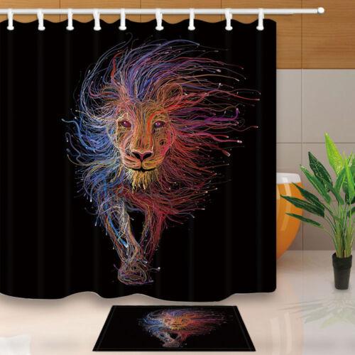 Animal Coloré lignes Outline Lion Salle de bains Tissu Rideau de douche Set avec crochet