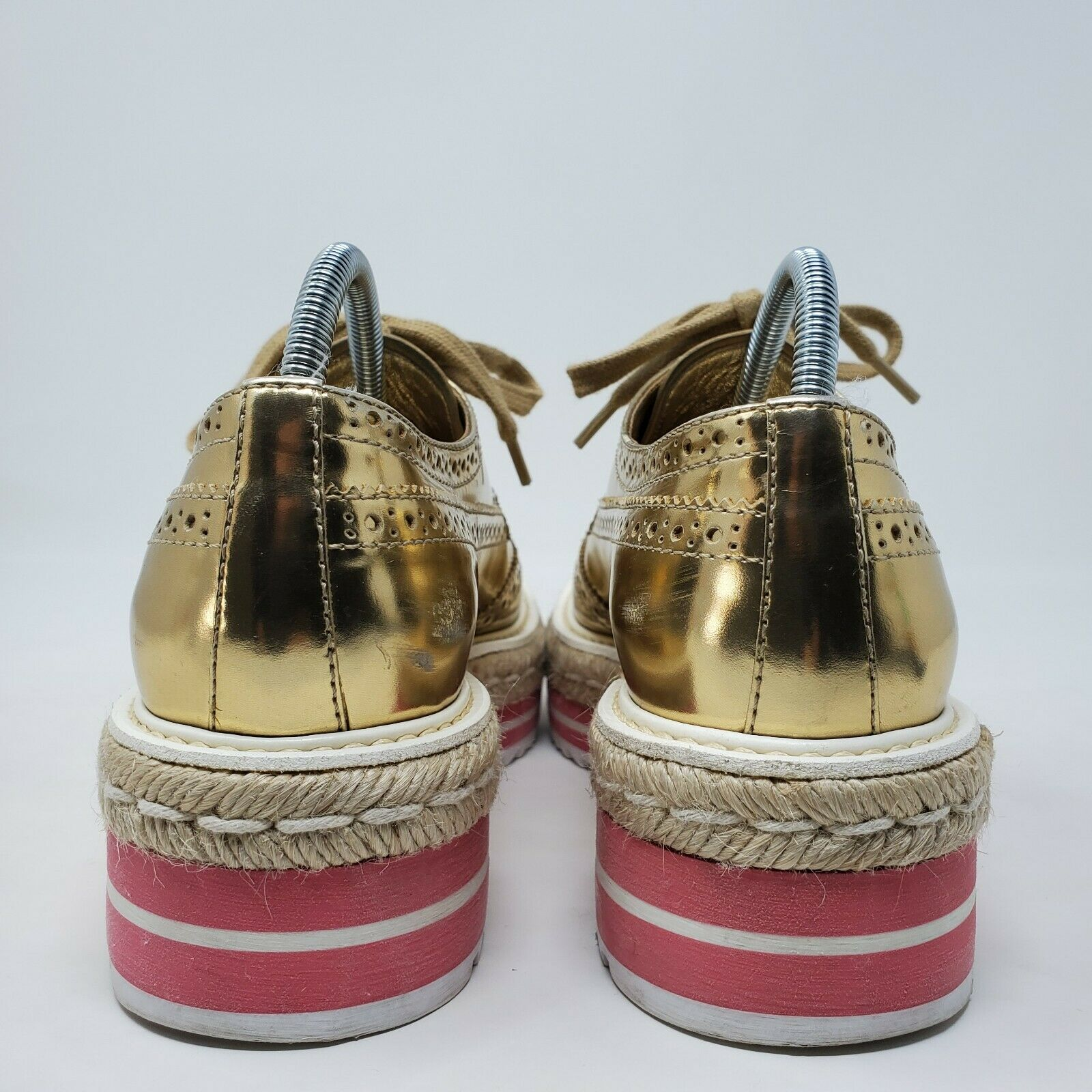 PRADA espadrille oxford shoes gold brogue pink pl… - image 6