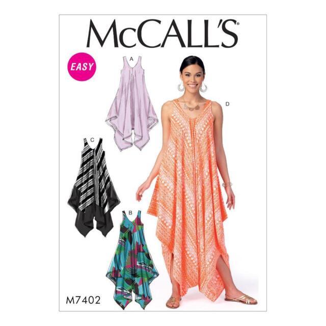 McCall Cartamodello Misses' handerchief-hem Abiti TUTINA INTERA xsm-xxl m7402