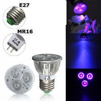 E27/mr16 3w Uv Ultraviolet Purple Led Ultra Plant Spot Light Bulb Lamp 110v/12v