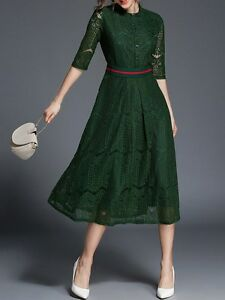 best service a0744 6431f Dettagli su Elegante raffinato vestito abito lungo verde pizzo manica lunga  slim 3889