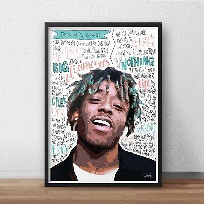 Rapper Poster A4 A3 HIP HOP Lyrics Juice WRLD INSPIRED WALL ART Print