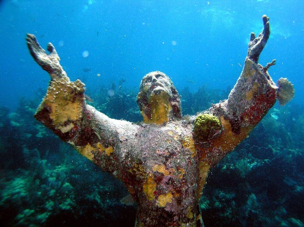 LEINWANDBILD XL JESUS STATUE CHRISTUS MEER UNTERWASSER PARADIES 80x 60 cm