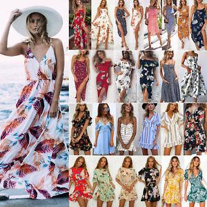 c9f4e49b20 US Women Boho Floral Long Maxi Dress Evening Party Beach Dresses ...