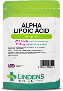 Alpha Lipoic Acid 250mg - powerful antioxidant - (90 capsules) [Lindens 4555]