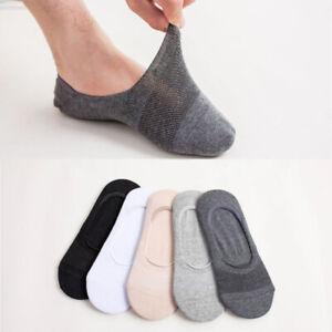 Mens-Shallow-Invisible-Cotton-Mesh-Boat-Socks-Silicone-Non-slip-Breathable