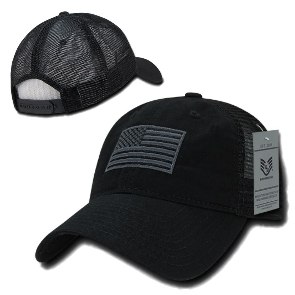Black USA US American Flag Patch United States America Polo Baseball Hat