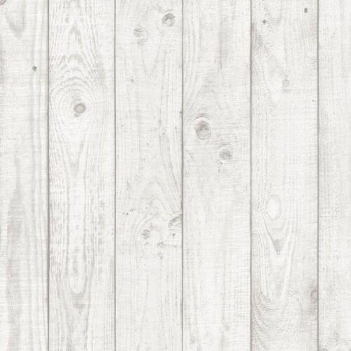 """Blanc Faux Bois Planches 3.5/"""" Large Papier Peint CK36615"""