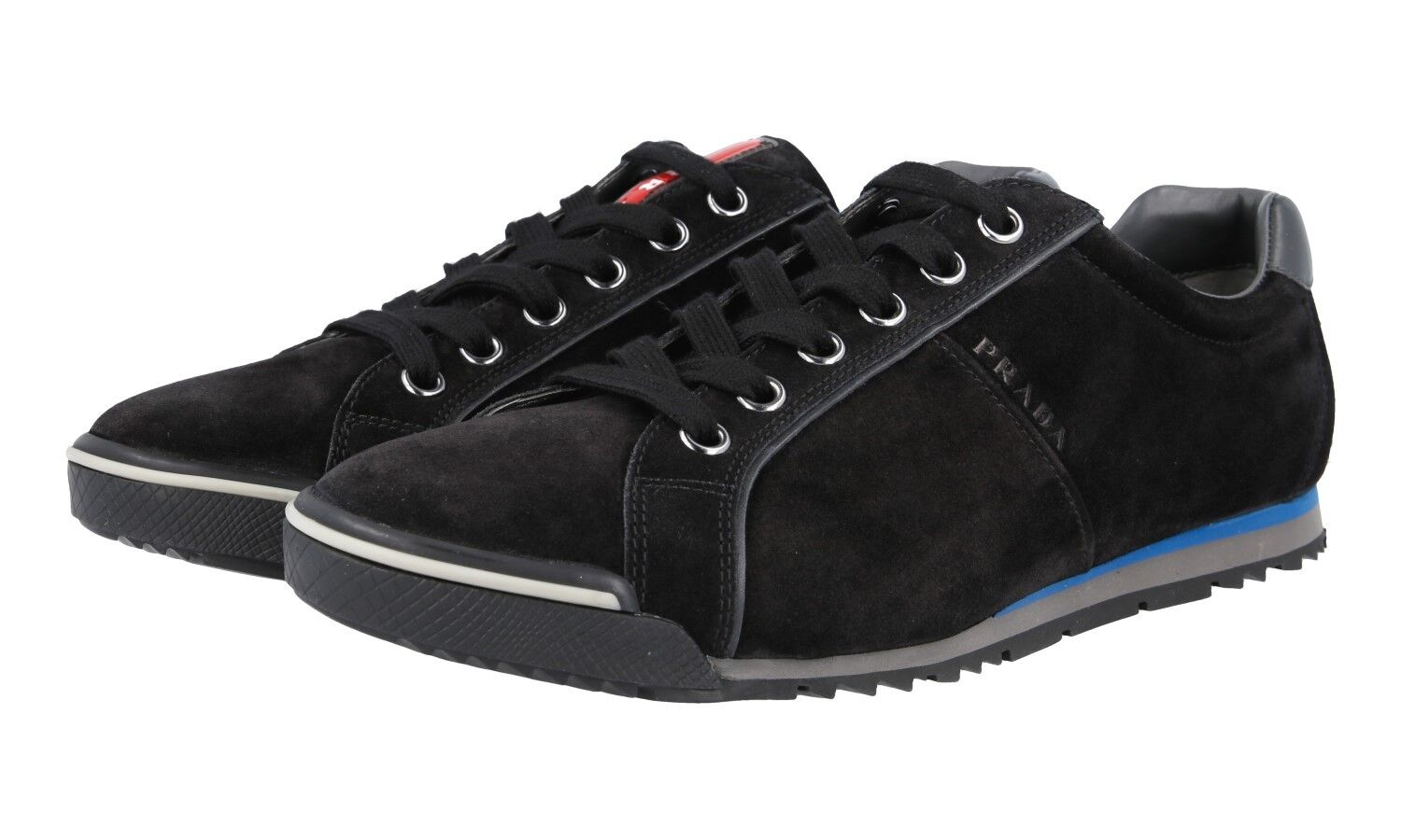 AUTH LUXURY PRADA SNEAKERS SHOES 4E2719 BLACK SUEDE NEW US 8