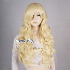 Light Blond Curly 70CM Long Anime Women Girls Cosplay Heat Resistant Full Wig