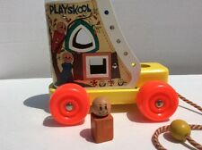 Vintage Old Woman Who Lived In A Shoe Playskool Pull & Lace Up Boy Orange Square