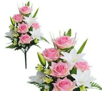 Pink White Poly Silk Memorial Rose Lily Flower 20bouquet Cemetery