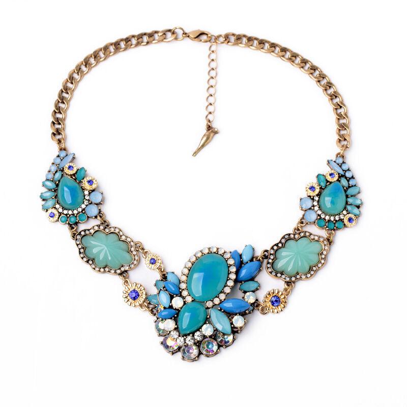 Collier Coquille Ovale Turquoise Retro Moderne Original Soirée Mariage AZ2