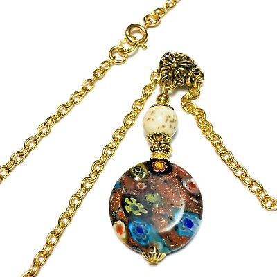 "Millefiori Glass Bead Pendant Chain Choker Necklace 16/""-22/"" Tibetan Gold Style"
