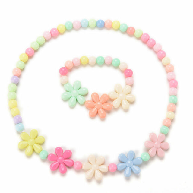 Girls Baby Toddlers Necklace Bracelet Flower Kids Gift  Party Jewelry