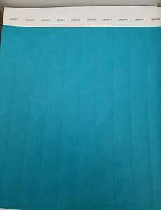 "AQUA PAPER WRISTBANDS 100 3//4/"" AQUA TYVEK WRISTBANDS WRISTBANDS FOR EVENTS"