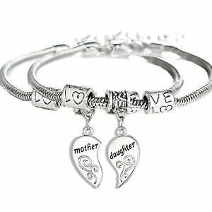 Image Is Loading 2pcs Matching Heart Mother Daughter Bracelets Mothers Day