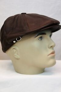 WHISKEY-100-LEATHER-Men-Gatsby-Cap-Newsboy-Ivy-Hat-Golf-Driving-Flat-NWT-S-3XL