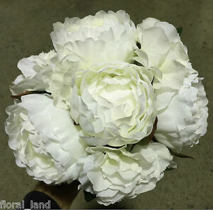 Image Is Loading Silk Wedding Bouquet Flower White Rose Roses Peonies