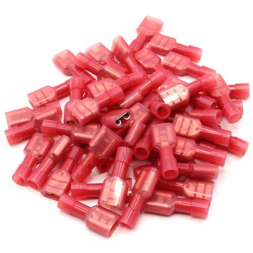 100 Flachsteckhülsen vollisoliert rot 6,3 x 0,5 mm Flachsteckhülse Kabelschuhe