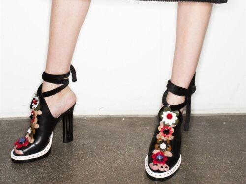 Donna scarpe Designer Heel a fiore in vero fatte mano in 3d Celebrity pelle ispirato S17 dEXqd