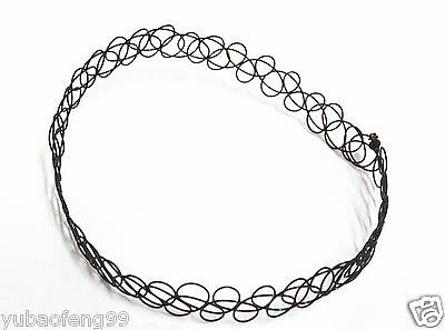 Factory wholesale price 10pcs 90s Tattoo Choker Stretch Necklace Black Retro