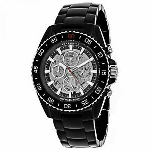 fa2c7360d05c Michael Kors Jetmaster Black Ion Automatic Chronograph Mens Watch MK9012