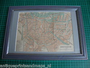 Antique-framed-map-print-Amsterdam-Holland-1897-antieke-prent-plattegrond
