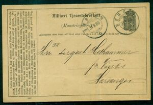 NORWAY-1888-Military-card-tied-Bergen-to-Harvanger-VF