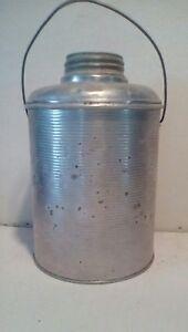 Vtg-Faris-Picnic-Water-Jug-Metal-w-Glass-Insert-and-Zinc-Lid