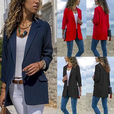 Womens Autumn Laple OL Blazer Coat Button Office Long Sleeve Jacket Outwear Suit