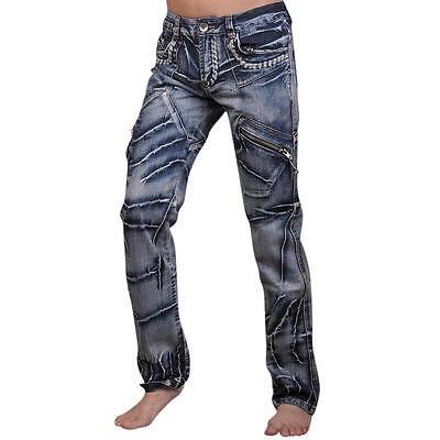 Jeansian Mens Fashion Jeans Pants Denim  Multi-Zips Pants W30 32 34 36 38 J018