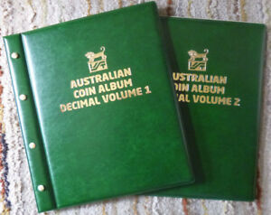 VST-AUSTRALIAN-2-Volumes-DECIMAL-COIN-ALBUMS-GREEN-Colour-1966-to-2018-MINTAGES