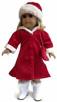 Red Velour Dress Coat, Hat, & Purse Fits 18 American Girl Doll Clothes