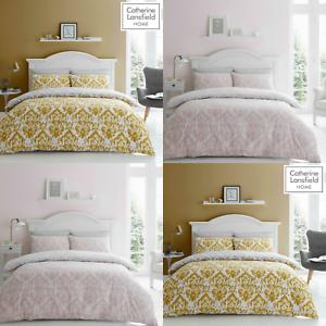 Catherine Lansfield Damask Reversible Easy Care Duvet Cover Set Blush or Ochre