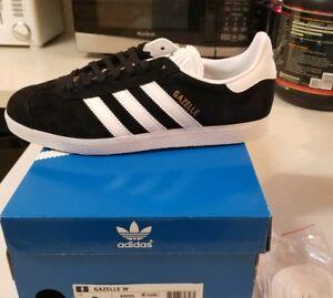 Details about New Women's Adidas Gazelle Casual Shoes Black White sz 10