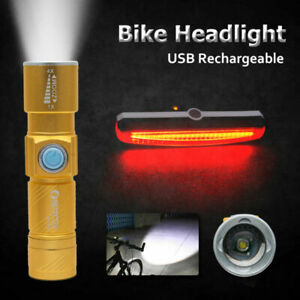 Luce-Ricaricabile-USB-Anteriore-Posteriore-per-Bici-Bicicletta-LED-Impermeabile