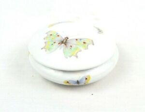 """ROCHARD LIMOGES France Butterfly Porcelain Trinket Ring Box Rare Vintage 3.5"""""""
